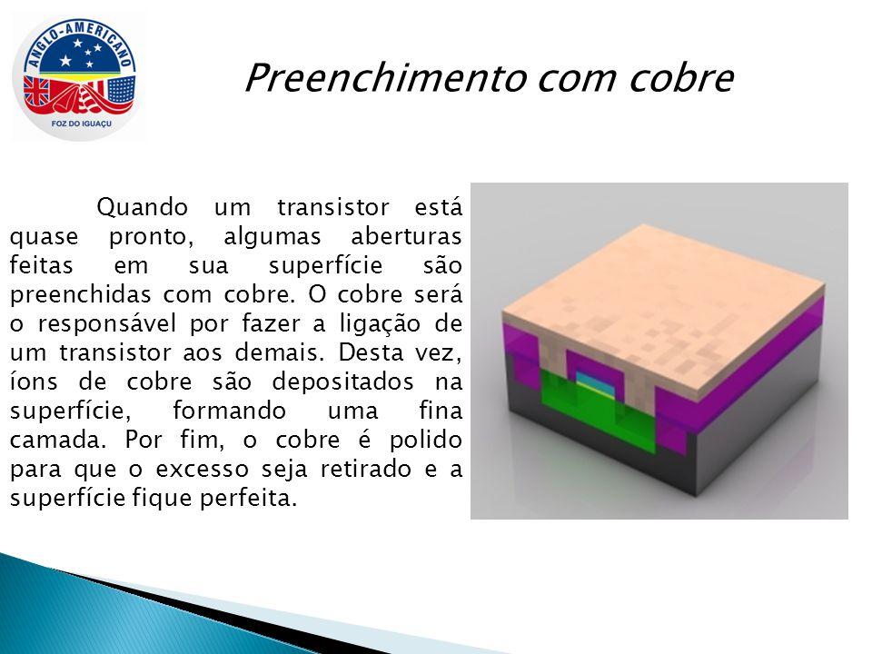 Preenchimento com cobre Quando um transistor está quase pronto, algumas aberturas feitas em sua superfície são preenchidas com cobre. O cobre será o r
