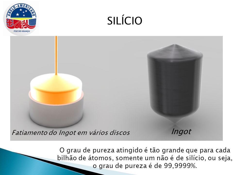 SILÍCIO Ingot Fatiamento do Ingot em vários discos O grau de pureza atingido é tão grande que para cada bilhão de átomos, somente um não é de silício,