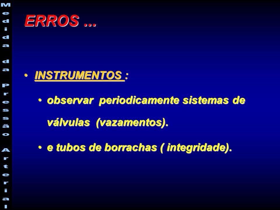 INSTRUMENTOS :INSTRUMENTOS : observar periodicamente sistemas de válvulas (vazamentos).observar periodicamente sistemas de válvulas (vazamentos).
