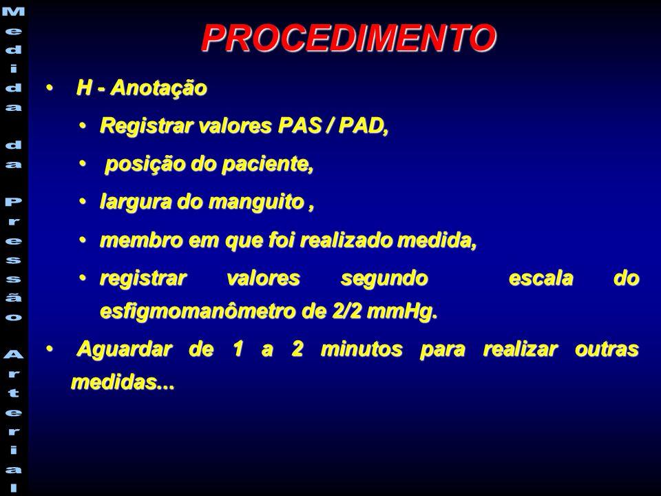 H - Anotação H - Anotação Registrar valores PAS / PAD,Registrar valores PAS / PAD, posição do paciente, posição do paciente, largura do manguito,largura do manguito, membro em que foi realizado medida,membro em que foi realizado medida, registrar valores segundo escala do esfigmomanômetro de 2/2 mmHg.registrar valores segundo escala do esfigmomanômetro de 2/2 mmHg.