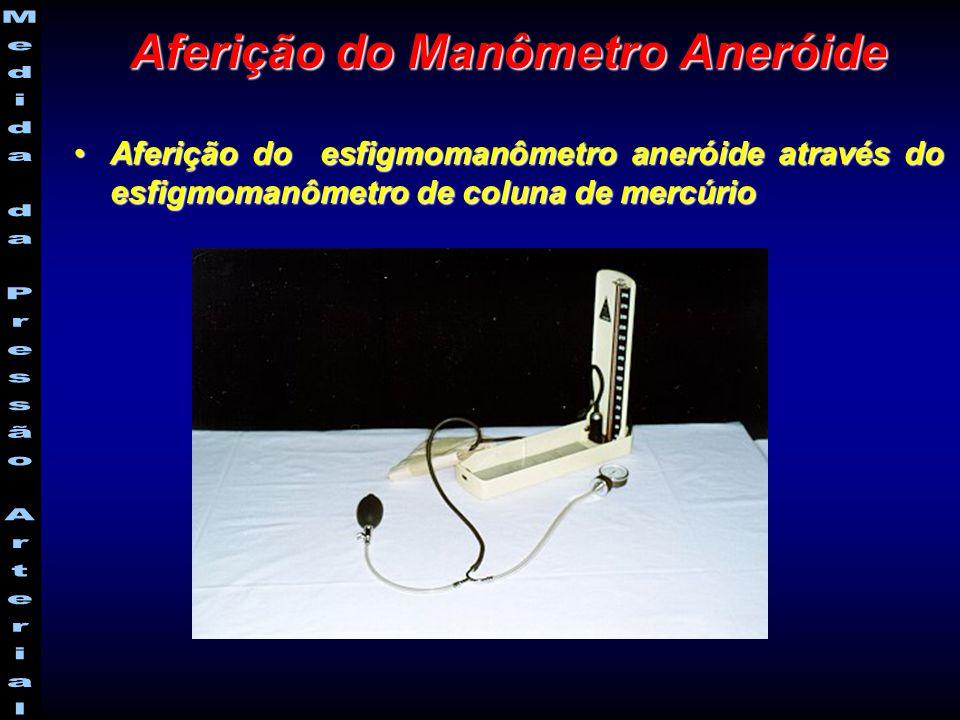 Aferição do esfigmomanômetro aneróide através do esfigmomanômetro de coluna de mercúrioAferição do esfigmomanômetro aneróide através do esfigmomanômetro de coluna de mercúrio Aferição do Manômetro Aneróide