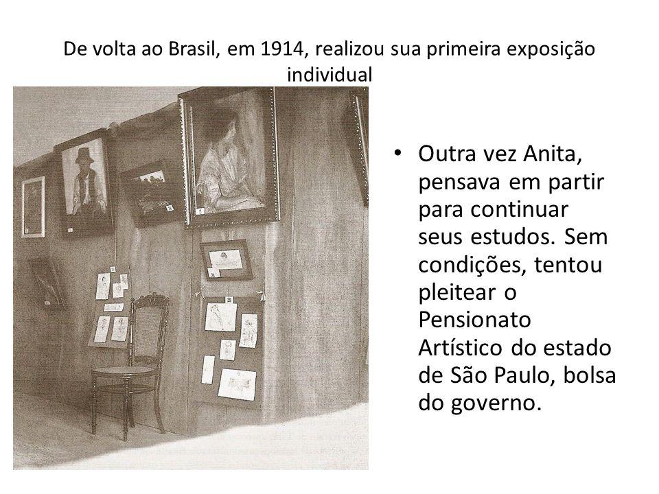 De volta ao Brasil, em 1914, realizou sua primeira exposição individual Outra vez Anita, pensava em partir para continuar seus estudos. Sem condições,