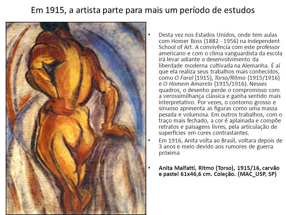 Em 1915, a artista parte para mais um período de estudos Desta vez nos Estados Unidos, onde tem aulas com Homer Boss (1882 - 1956) na Independent Scho