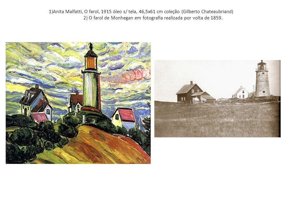 1)Anita Malfatti, O farol, 1915 óleo s/ tela, 46,5x61 cm coleção (Gilberto Chateaubriand) 2) O farol de Monhegan em fotografia realizada por volta de