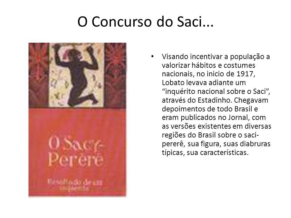 O Concurso do Saci... Visando incentivar a população a valorizar hábitos e costumes nacionais, no inicio de 1917, Lobato levava adiante um inquérito n