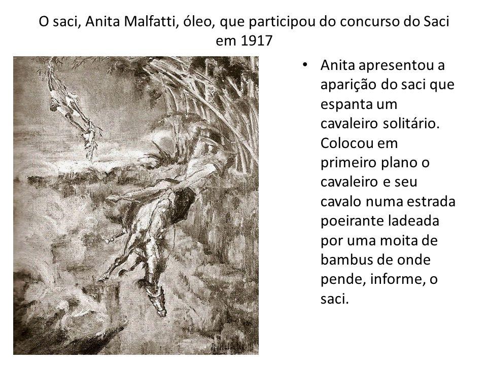 O saci, Anita Malfatti, óleo, que participou do concurso do Saci em 1917 Anita apresentou a aparição do saci que espanta um cavaleiro solitário. Coloc