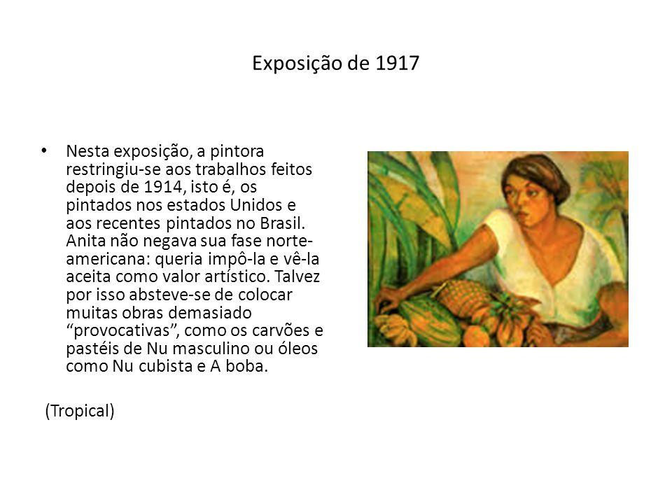 Exposição de 1917 Nesta exposição, a pintora restringiu-se aos trabalhos feitos depois de 1914, isto é, os pintados nos estados Unidos e aos recentes
