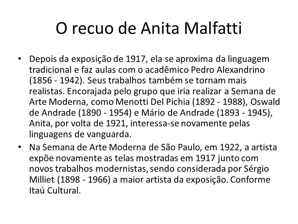 O recuo de Anita Malfatti Depois da exposição de 1917, ela se aproxima da linguagem tradicional e faz aulas com o acadêmico Pedro Alexandrino (1856 -