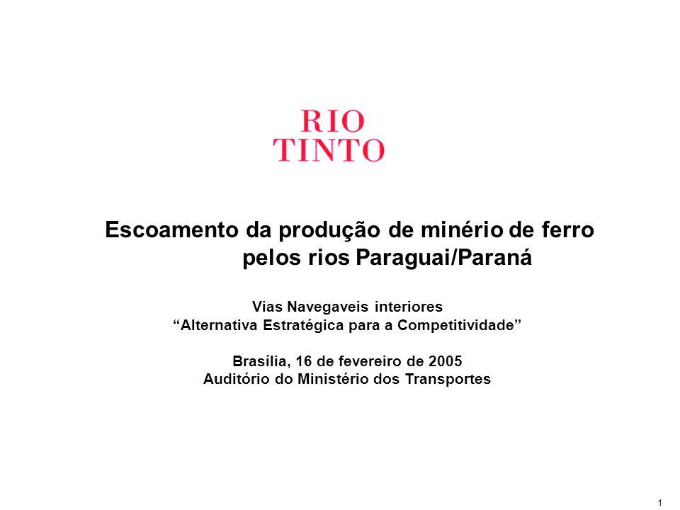 1 Escoamento da produção de minério de ferro pelos rios Paraguai/Paraná Vias Navegaveis interiores Alternativa Estratégica para a Competitividade Brasília, 16 de fevereiro de 2005 Auditório do Ministério dos Transportes
