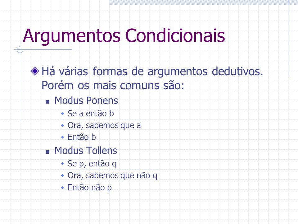 Argumentos Condicionais Há várias formas de argumentos dedutivos. Porém os mais comuns são: Modus Ponens Se a então b Ora, sabemos que a Então b Modus