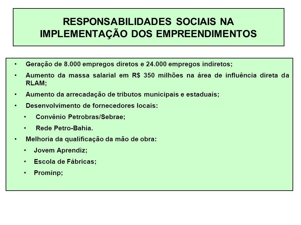 RESPONSABILIDADES SOCIAIS NA IMPLEMENTAÇÃO DOS EMPREENDIMENTOS Geração de 8.000 empregos diretos e 24.000 empregos indiretos; Aumento da massa salarial em R$ 350 milhões na área de influência direta da RLAM; Aumento da arrecadação de tributos municipais e estaduais; Desenvolvimento de fornecedores locais: Convênio Petrobras/Sebrae; Rede Petro-Bahia.