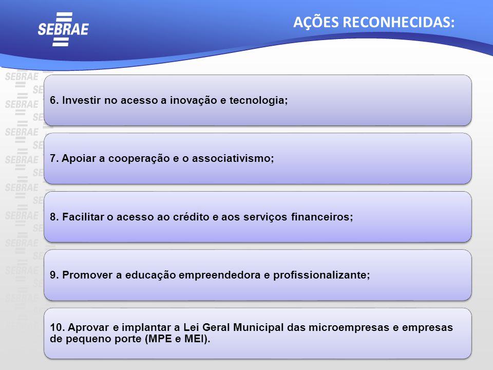 6. Investir no acesso a inovação e tecnologia;7. Apoiar a cooperação e o associativismo;8. Facilitar o acesso ao crédito e aos serviços financeiros;9.