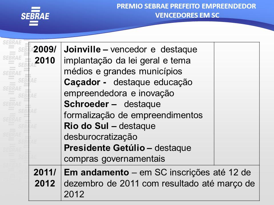 2009/ 2010 Joinville – vencedor e destaque implantação da lei geral e tema médios e grandes municípios Caçador - destaque educação empreendedora e ino