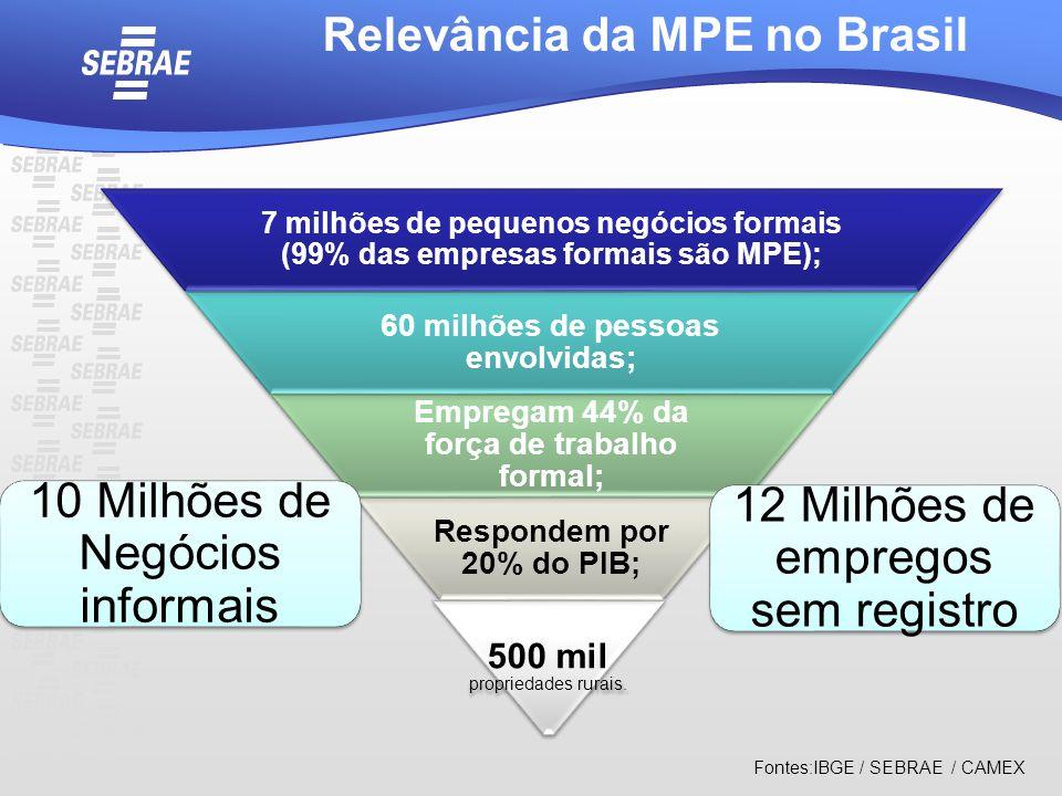 7 milhões de pequenos negócios formais (99% das empresas formais são MPE); 60 milhões de pessoas envolvidas; Empregam 44% da força de trabalho formal;