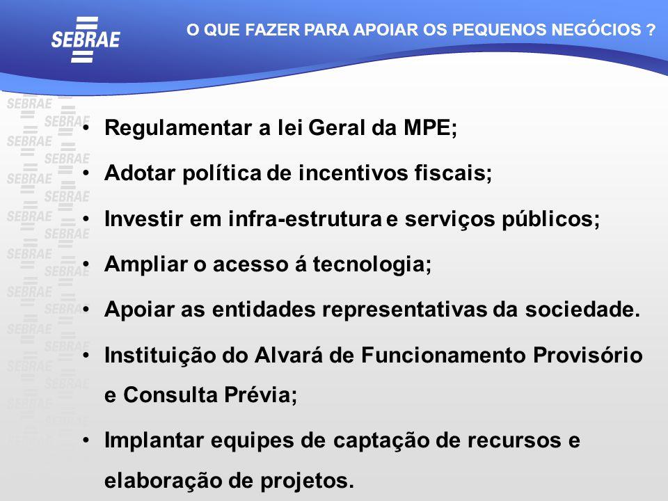 Regulamentar a lei Geral da MPE; Adotar política de incentivos fiscais; Investir em infra-estrutura e serviços públicos; Ampliar o acesso á tecnologia