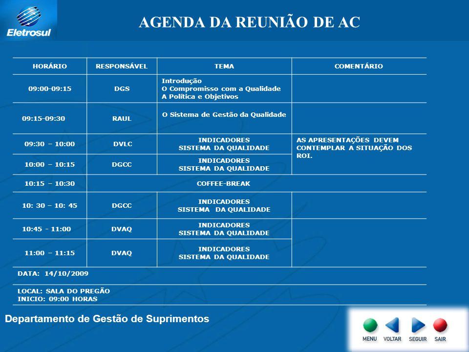 Departamento de Gestão de Suprimentos AGENDA DA REUNIÃO DE AC HORÁRIORESPONSÁVELTEMACOMENTÁRIO 09:00-09:15DGS Introdução O Compromisso com a Qualidade