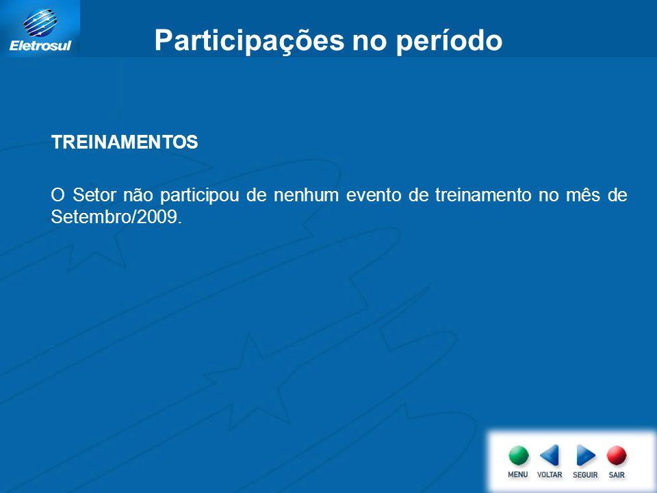 Participações no período TREINAMENTOS O Setor não participou de nenhum evento de treinamento no mês de Setembro/2009.