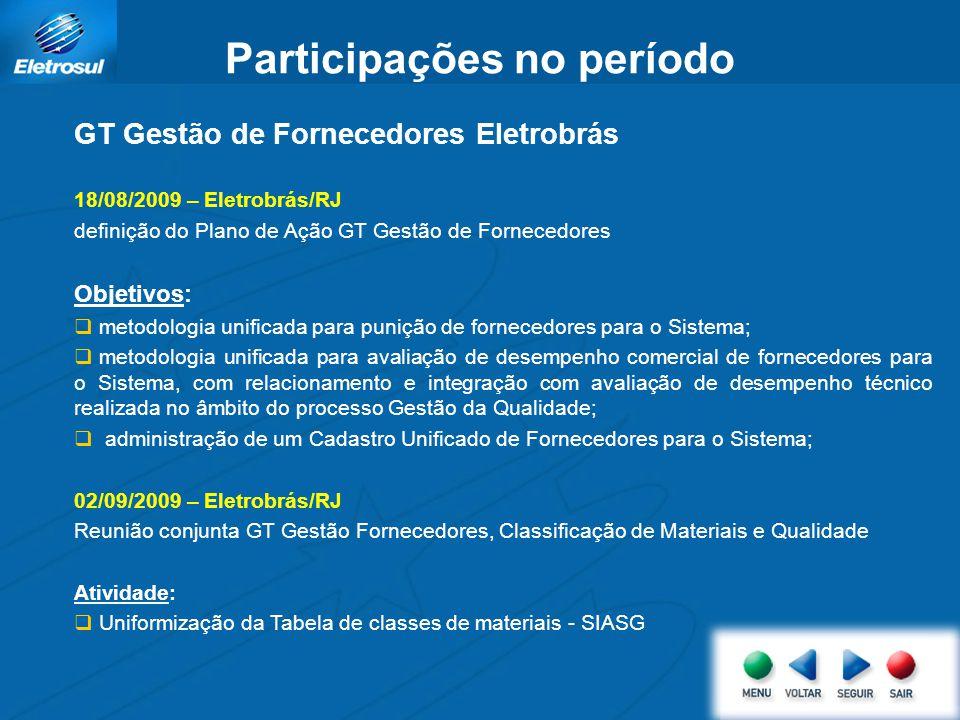 Participações no período GT Gestão de Fornecedores Eletrobrás 18/08/2009 – Eletrobrás/RJ definição do Plano de Ação GT Gestão de Fornecedores Objetivo