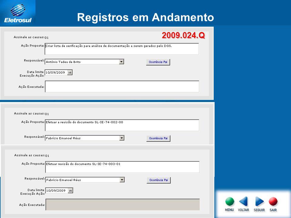 Registros em Andamento 2009.024.Q 2009.024.Q