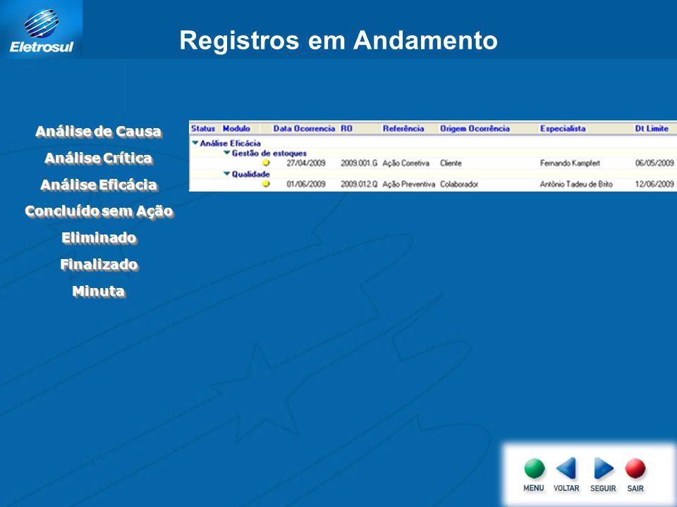 Registros em Andamento Análise de Causa Análise Crítica Análise Eficácia Concluído sem Ação EliminadoEliminado FinalizadoFinalizado MinutaMinuta