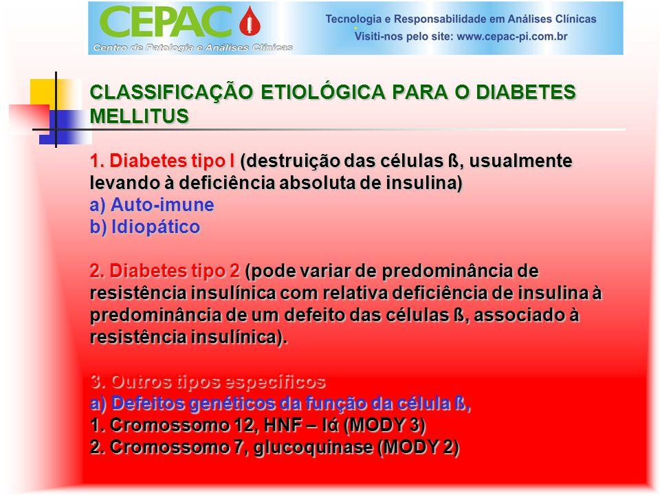 CLASSIFICAÇÃO ETIOLÓGICA PARA O DIABETES MELLITUS 1. Diabetes tipo I (destruição das células ß, usualmente levando à deficiência absoluta de insulina)