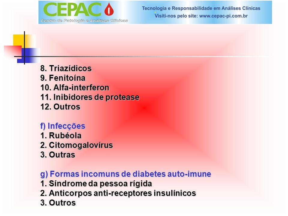 8. Triazídicos 9. Fenitoína 10. Alfa-interferon 11. Inibidores de protease 12. Outros f) Infecções 1. Rubéola 2. Citomogalovírus 3. Outras g) Formas i