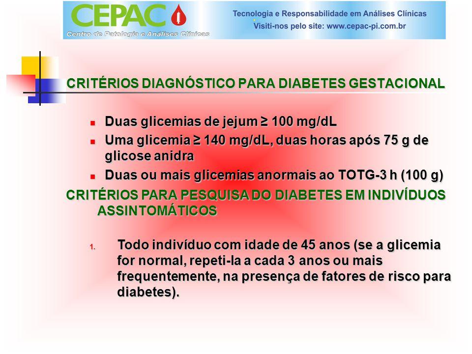 CRITÉRIOS DIAGNÓSTICO PARA DIABETES GESTACIONAL Duas glicemias de jejum 100 mg/dL Uma glicemia 140 mg/dL, duas horas após 75 g de glicose anidra Duas