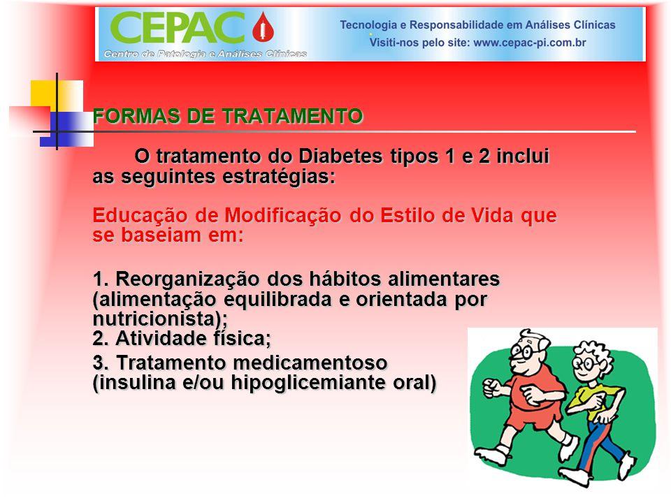 FORMAS DE TRATAMENTO O tratamento do Diabetes tipos 1 e 2 inclui as seguintes estratégias: Educação de Modificação do Estilo de Vida que se baseiam em