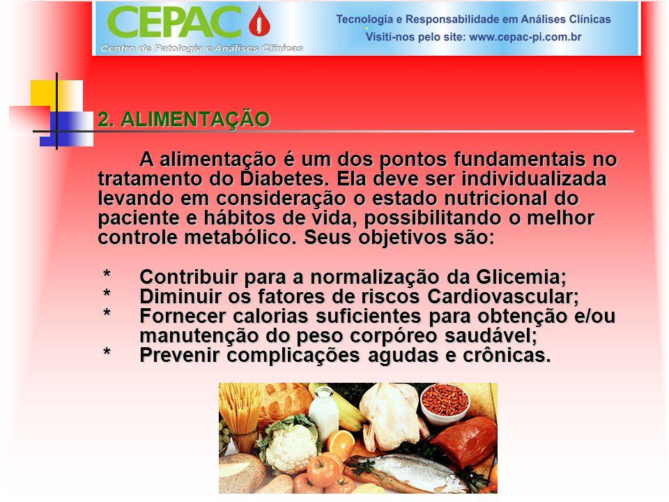 2. ALIMENTAÇÃO A alimentação é um dos pontos fundamentais no tratamento do Diabetes. Ela deve ser individualizada levando em consideração o estado nut