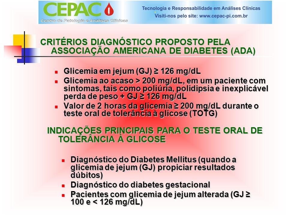 CRITÉRIOS DIAGNÓSTICO PROPOSTO PELA ASSOCIAÇÃO AMERICANA DE DIABETES (ADA) Glicemia em jejum (GJ) 126 mg/dL Glicemia ao acaso > 200 mg/dL, em um pacie