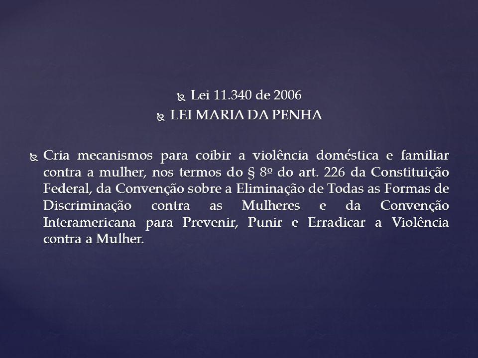Lei 11.340 de 2006 Lei 11.340 de 2006 LEI MARIA DA PENHA LEI MARIA DA PENHA Cria mecanismos para coibir a violência doméstica e familiar contra a mulher, nos termos do § 8 o do art.