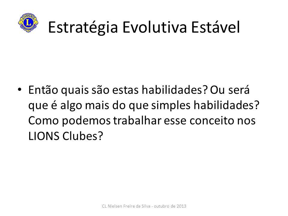 Estratégia Evolutiva Estável Então quais são estas habilidades? Ou será que é algo mais do que simples habilidades? Como podemos trabalhar esse concei