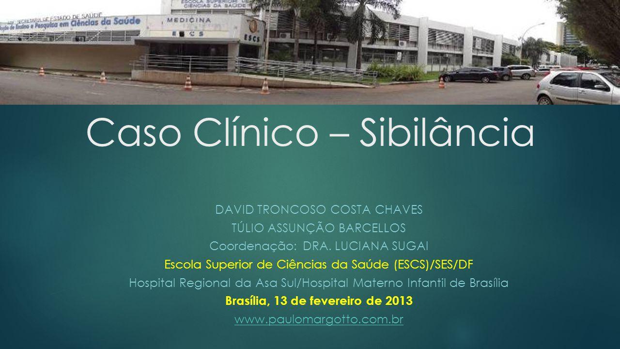 DAVID TRONCOSO COSTA CHAVES TÚLIO ASSUNÇÃO BARCELLOS Coordenação: DRA. LUCIANA SUGAI Escola Superior de Ciências da Saúde (ESCS)/SES/DF Hospital Regio