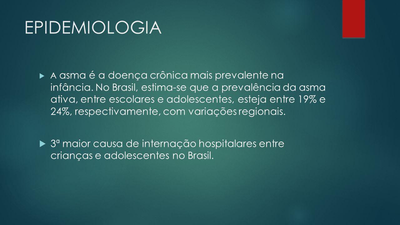 EPIDEMIOLOGIA A asma é a doença crônica mais prevalente na infância. No Brasil, estima-se que a prevalência da asma ativa, entre escolares e adolescen