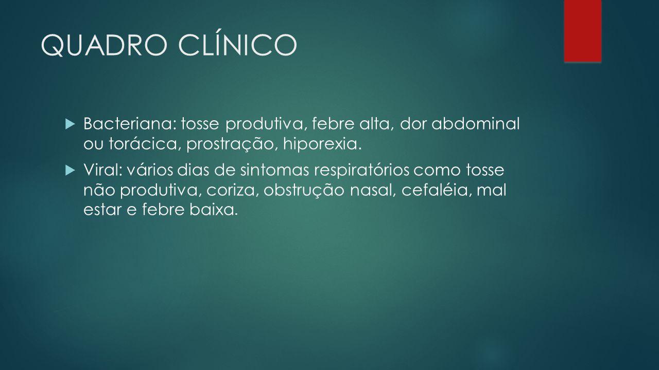 QUADRO CLÍNICO Bacteriana: tosse produtiva, febre alta, dor abdominal ou torácica, prostração, hiporexia. Viral: vários dias de sintomas respiratórios