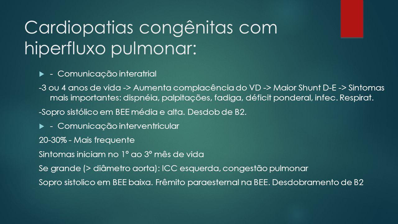 Cardiopatias congênitas com hiperfluxo pulmonar: - Comunicação interatrial -3 ou 4 anos de vida -> Aumenta complacência do VD -> Maior Shunt D-E -> Si