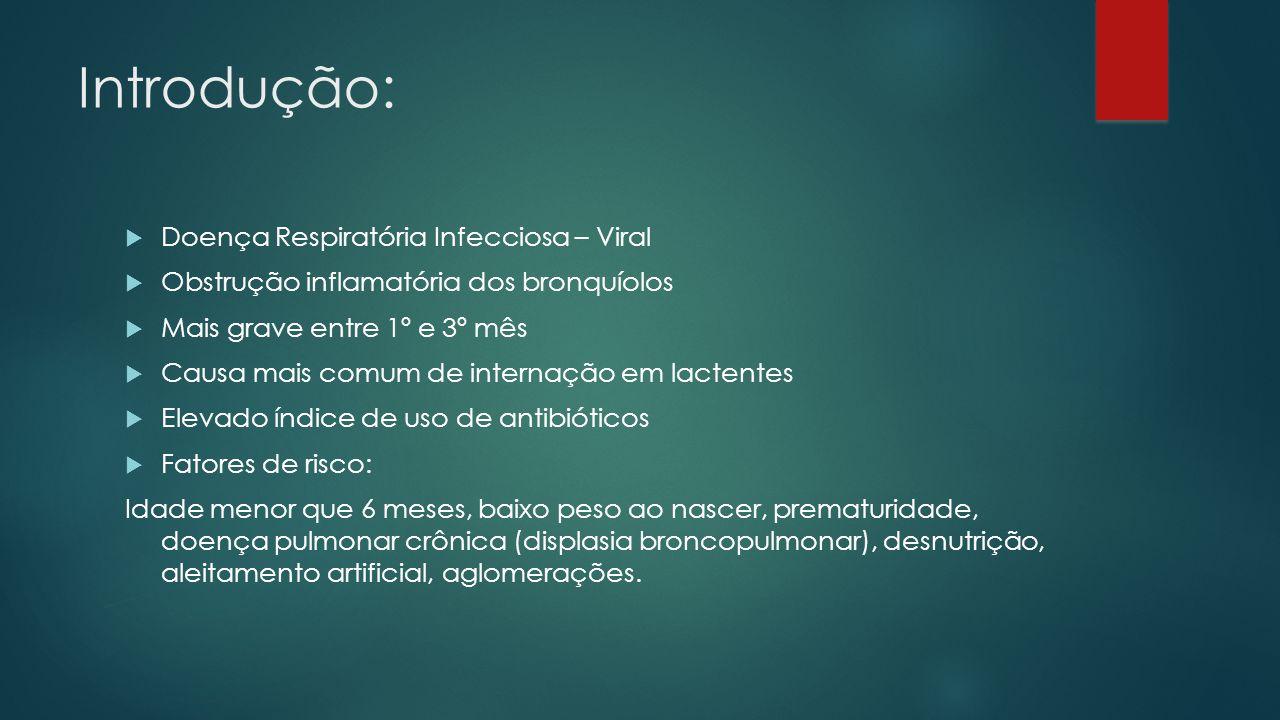 Introdução: Doença Respiratória Infecciosa – Viral Obstrução inflamatória dos bronquíolos Mais grave entre 1º e 3º mês Causa mais comum de internação