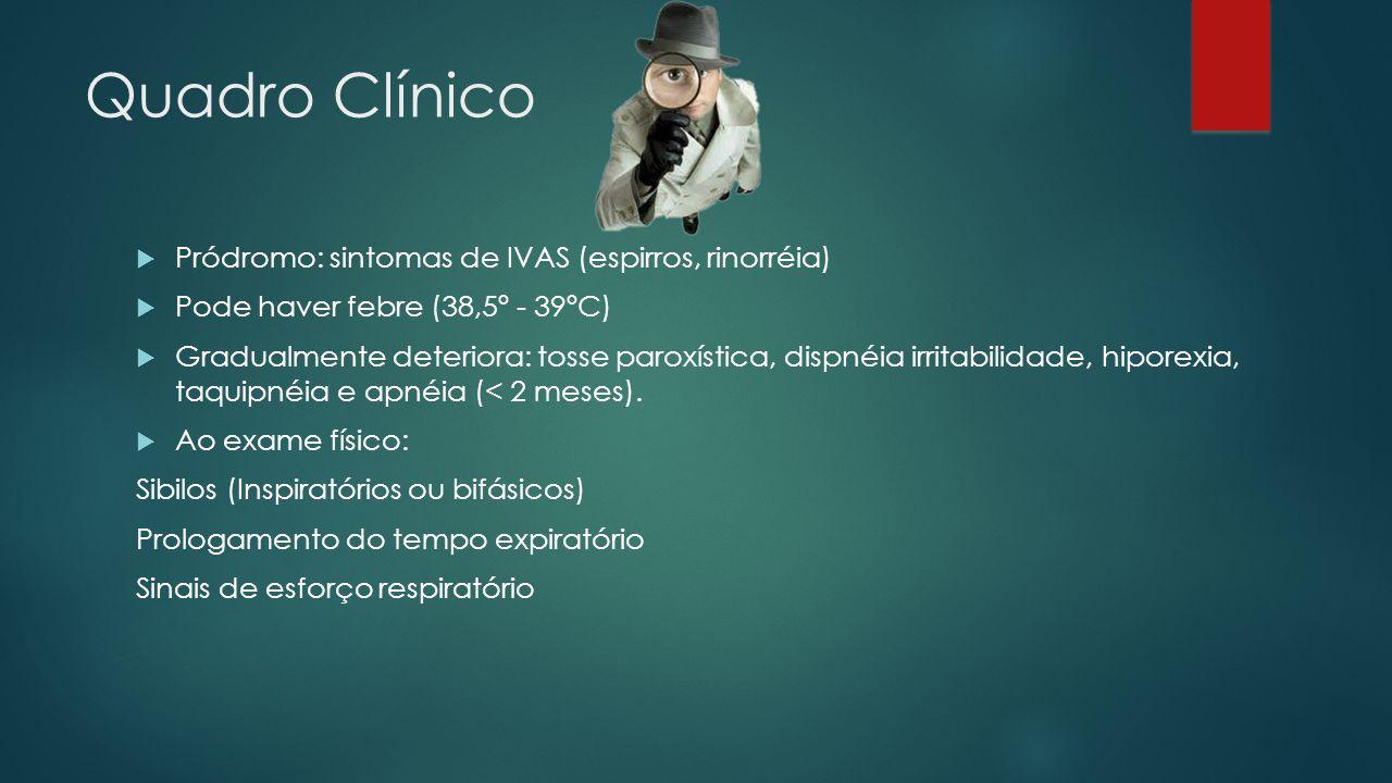 Quadro Clínico Pródromo: sintomas de IVAS (espirros, rinorréia) Pode haver febre (38,5º - 39ºC) Gradualmente deteriora: tosse paroxística, dispnéia ir