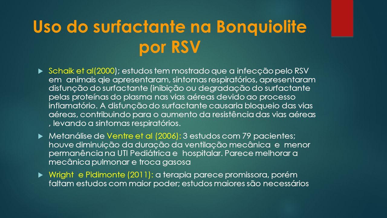 Uso do surfactante na Bonquiolite por RSV Schaik et al(2000); estudos tem mostrado que a infecção pelo RSV em animais qie apresentaram, sintomas respi