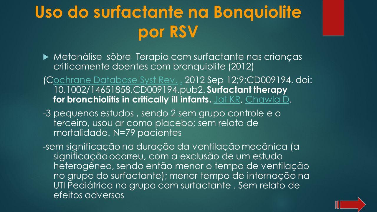 Metanálise sôbre Terapia com surfactante nas crianças criticamente doentes com bronquiolite (2012) (Cochrane Database Syst Rev.. 2012 Sep 12;9:CD00919