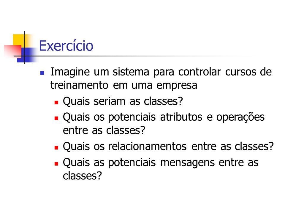 Exercício Imagine um sistema para controlar cursos de treinamento em uma empresa Quais seriam as classes.