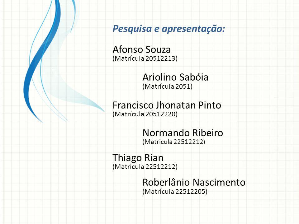 Pesquisa e apresentação: Afonso Souza (Matrícula 20512213) Ariolino Sabóia (Matrícula 2051) Francisco Jhonatan Pinto (Matrícula 20512220) Normando Ribeiro (Matricula 22512212) Thiago Rian (Matrícula 22512212) Roberlânio Nascimento (Matrícula 22512205)