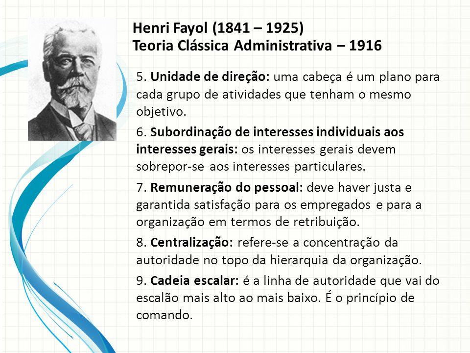Henri Fayol (1841 – 1925) Teoria Clássica Administrativa – 1916 5.