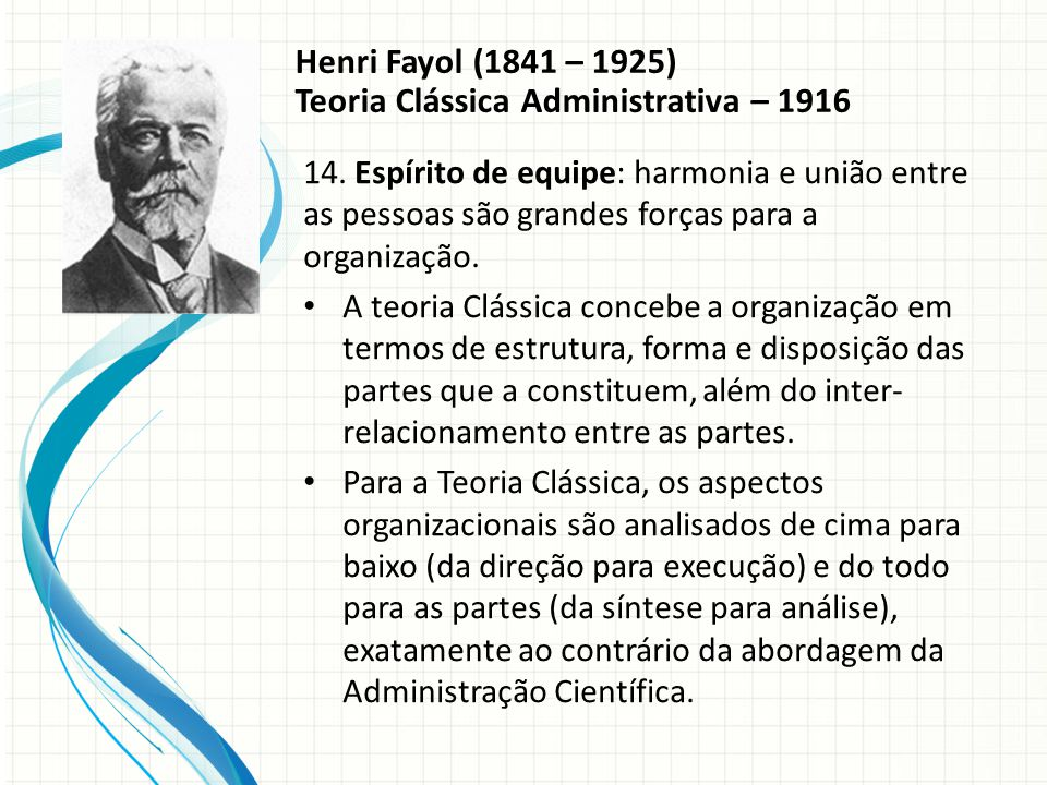 Henri Fayol (1841 – 1925) Teoria Clássica Administrativa – 1916 14.
