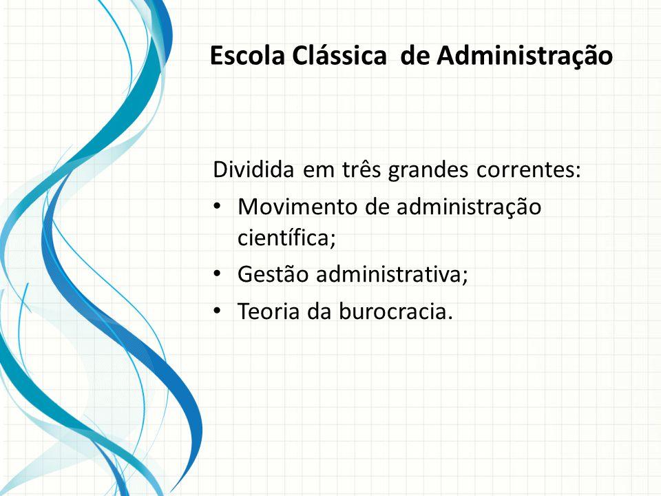 Escola Clássica de Administração Dividida em três grandes correntes: Movimento de administração científica; Gestão administrativa; Teoria da burocracia.