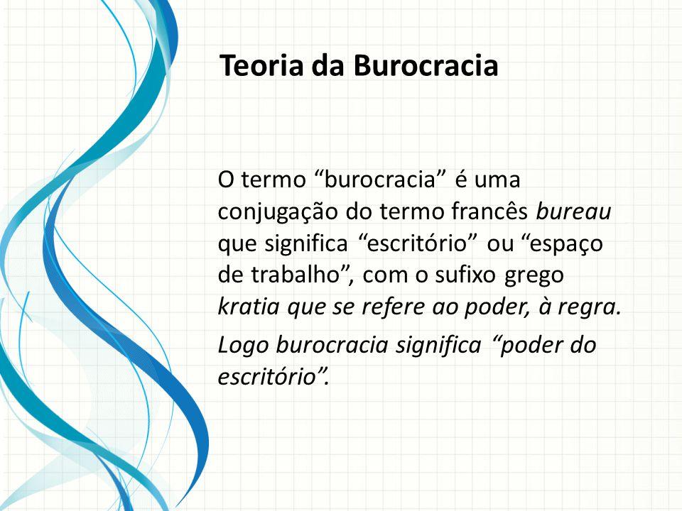 Teoria da Burocracia O termo burocracia é uma conjugação do termo francês bureau que significa escritório ou espaço de trabalho, com o sufixo grego kratia que se refere ao poder, à regra.