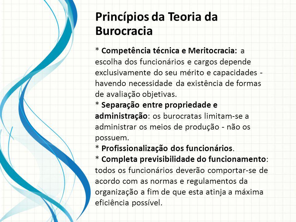 Princípios da Teoria da Burocracia * Competência técnica e Meritocracia: a escolha dos funcionários e cargos depende exclusivamente do seu mérito e capacidades - havendo necessidade da existência de formas de avaliação objetivas.
