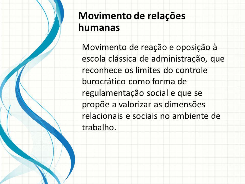 Movimento de relações humanas Movimento de reação e oposição à escola clássica de administração, que reconhece os limites do controle burocrático como forma de regulamentação social e que se propõe a valorizar as dimensões relacionais e sociais no ambiente de trabalho.