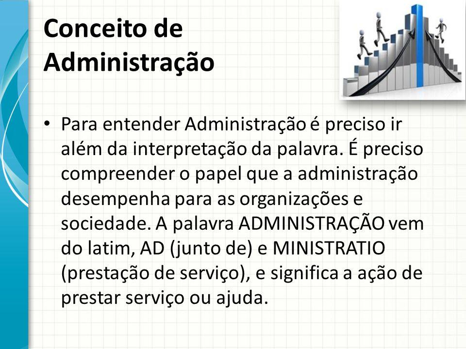 Conceito de Administração Para entender Administração é preciso ir além da interpretação da palavra.