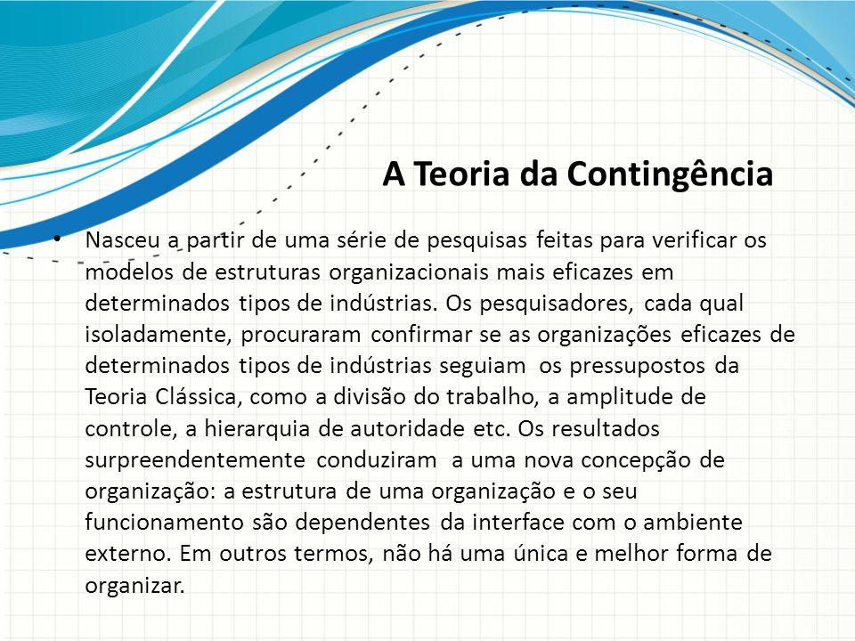A Teoria da Contingência Nasceu a partir de uma série de pesquisas feitas para verificar os modelos de estruturas organizacionais mais eficazes em determinados tipos de indústrias.